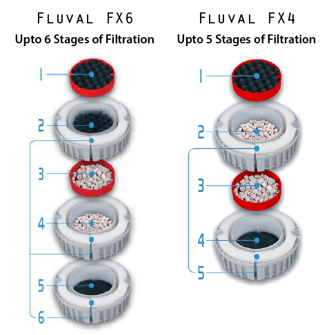 Filtration Stages of Fluval FX6 and Fluval Fx4